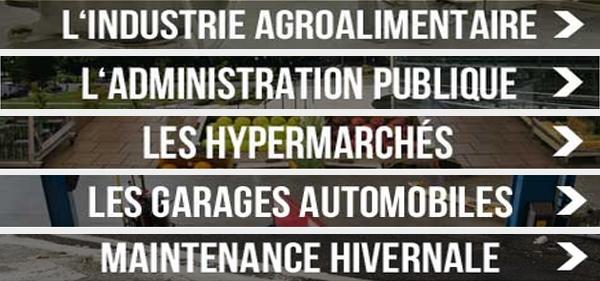 Photo ou il est écrit : L'industrie alimentaire ; L'administration publique ; Les hypermarchés ; Les garages automobiles ; Maintenance hivernale