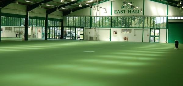 Photo d'un grand espace dont le sol est peint en vert