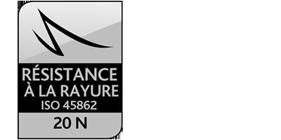 Icone Résistance à la rayure ISO 45862 : 20N